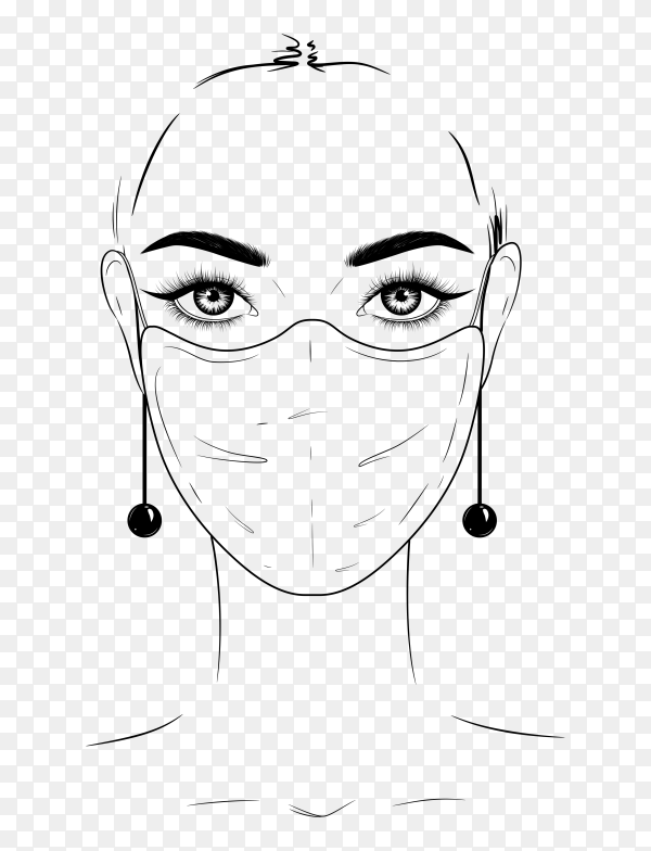 Woman wearing medical mask on transparent background PNG