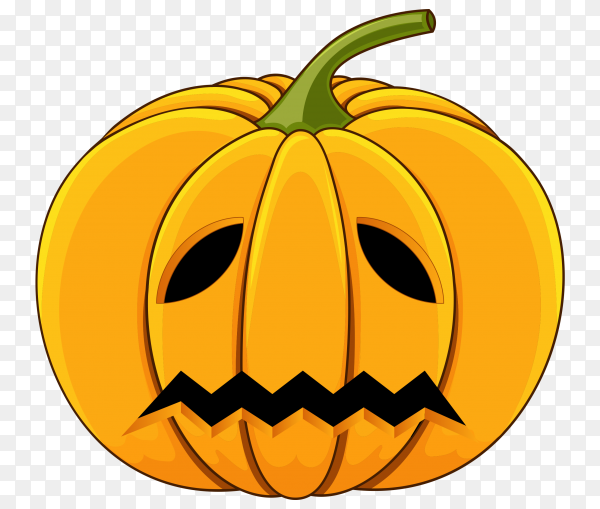Yellow Halloween pumpkin isolated on transparent background PNG