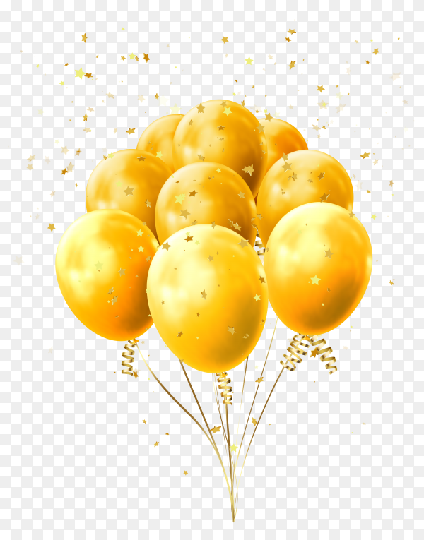 Yellow balloons golden with stars flying on transparent PNG