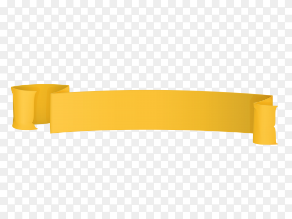 Yellow banner with Ribbon on transparent PNG