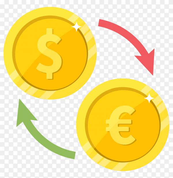 Flat design Currency exchange dollar euro premium vector PNG
