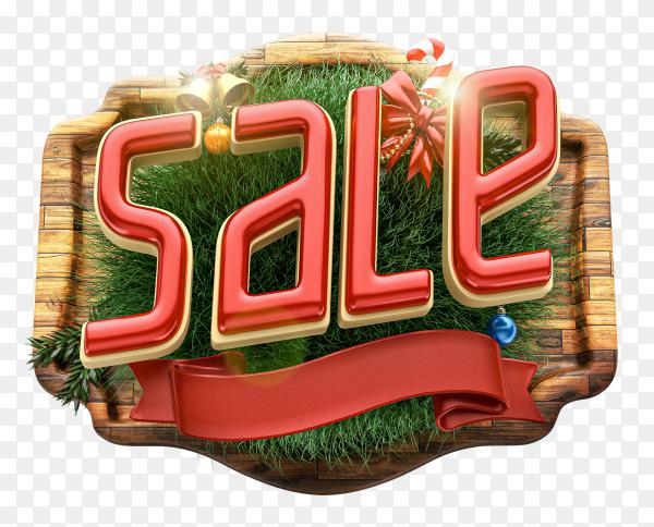 3D Christmas sale logo composition with decoration on transparent PNG