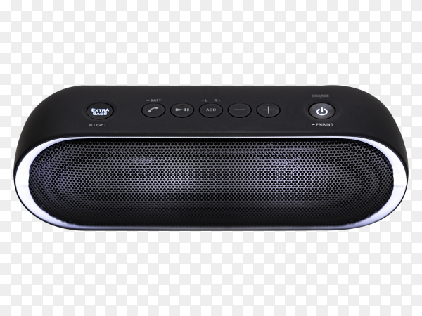 Black Bluetooth speaker with lights on transparent background PNG