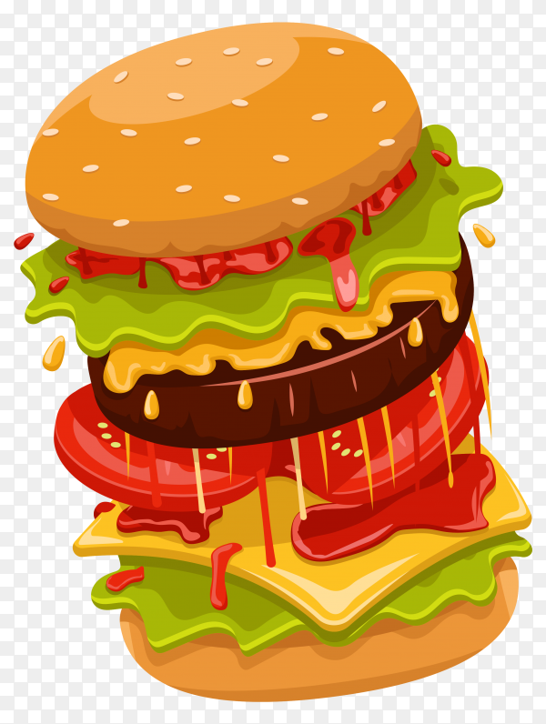 Burger with flying elements on transparent background PNG
