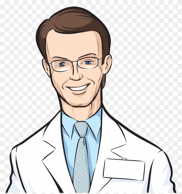 Cartoon Doctor character on transparent background PNG