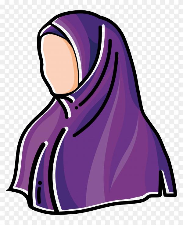 Cartoon character Woman wearing hijab on transparent ...