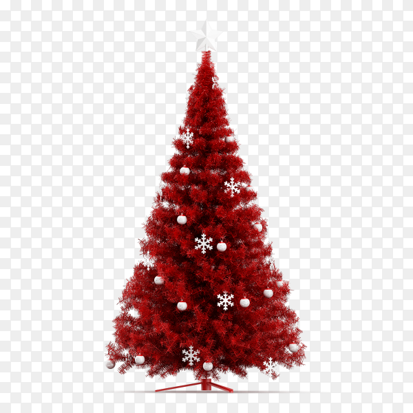 Christmas tree with red color with balls on transparent background PNG