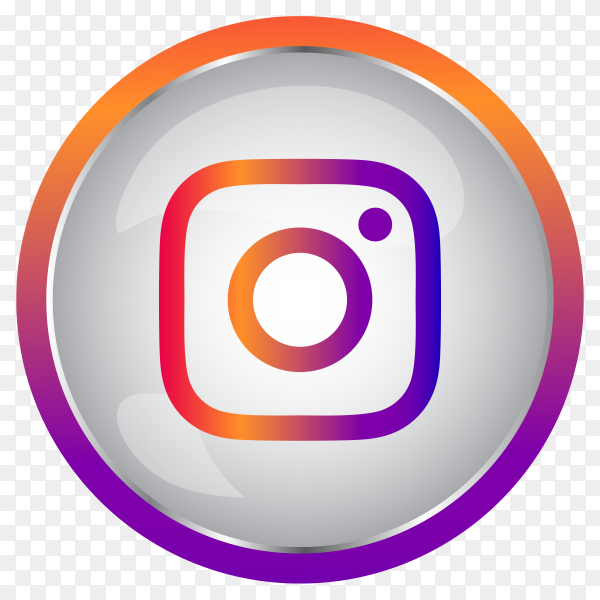 Colorful Shiny 3D Instagram icon button in Circle premium vector PNG