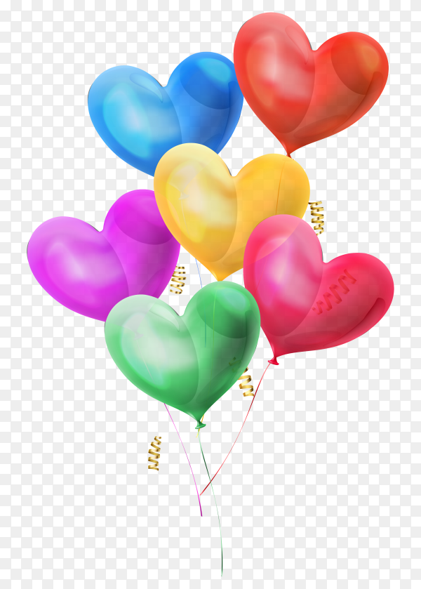 Colorful heart balloons for birthday party on transparent background PNG