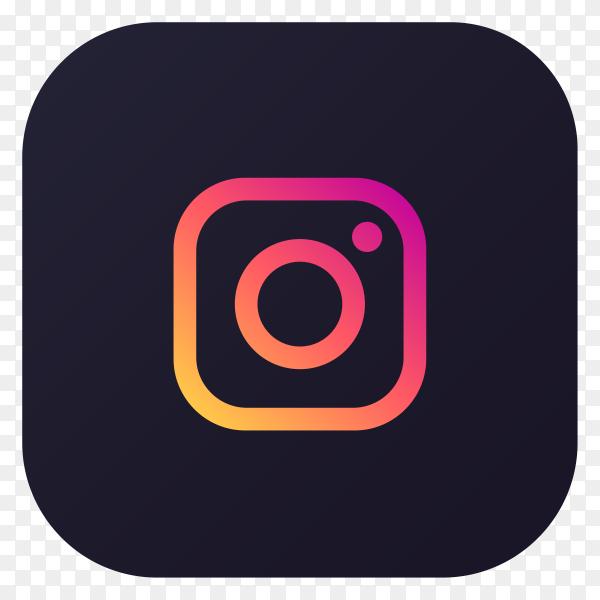 Dark themed Instagram application icon design premium vector PNG