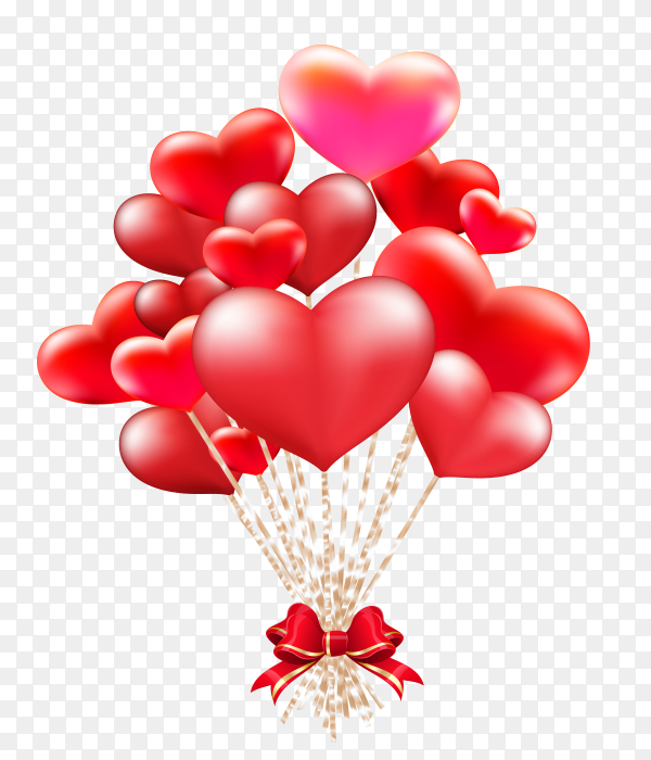 Elegant valentines day heart balloons on transparent background PNG'