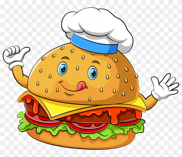 Funny hamburger cartoon character on transparent background PNG