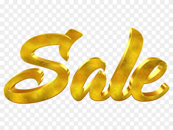 Golden sale word design on transparent background PNG
