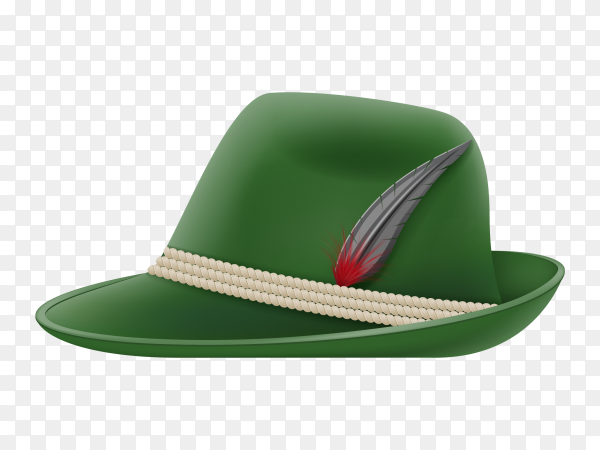 Green German traditional hat on transparent background PNG