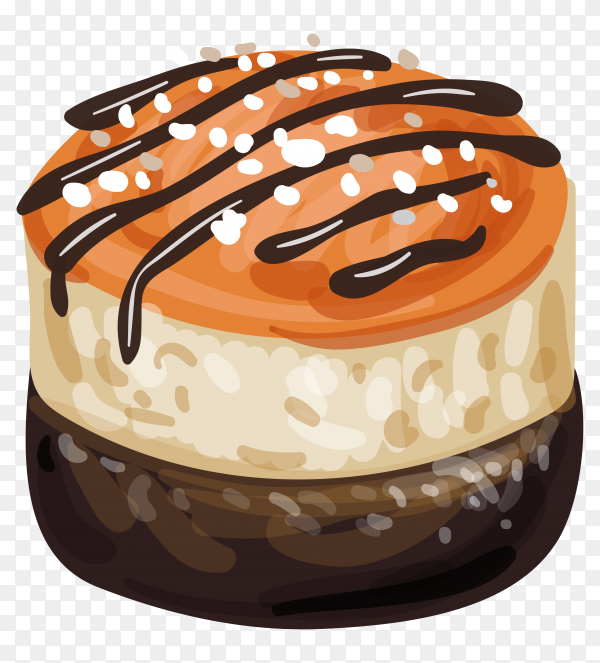 Hand drawn delicious cake on transparent background PNG