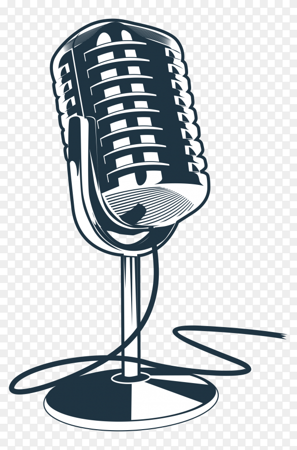 Hand drawn microphone on transparent background PNG