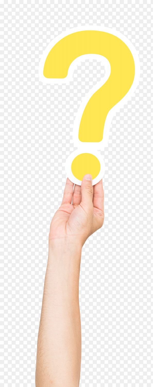 Hand holding question mark on transparent background PNG