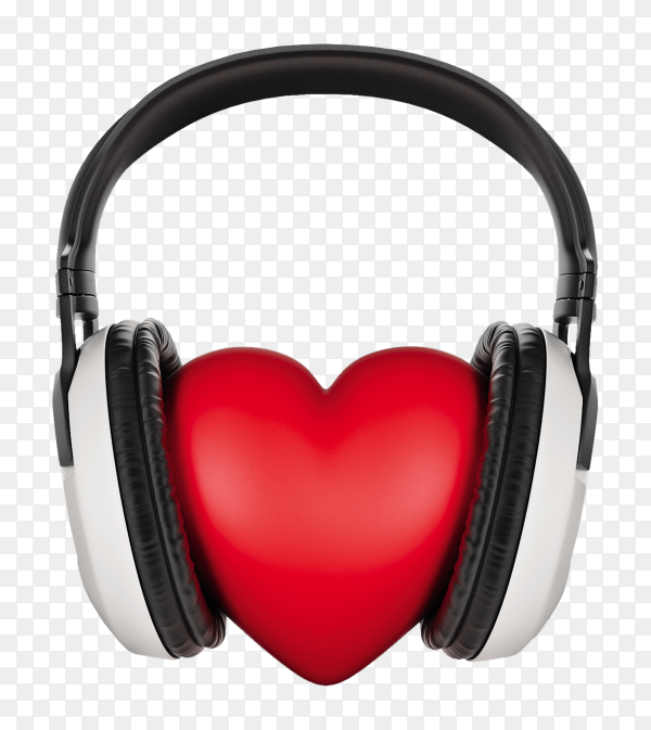 Headphone around red heart on transparent background PNG