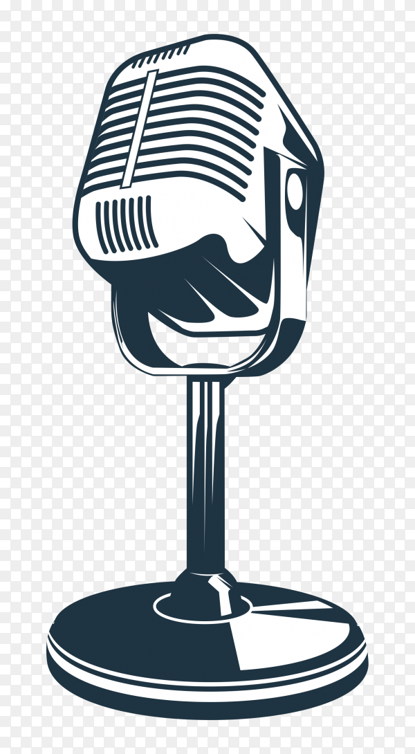 Illustration of retro microphone on transparent background PNG