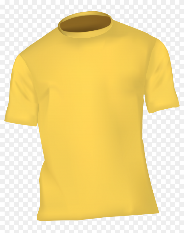 Illustration t-shirt in yellow color on transparent background PNG