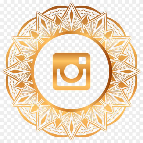 Luxury gold Instagram logo on transparent PNG