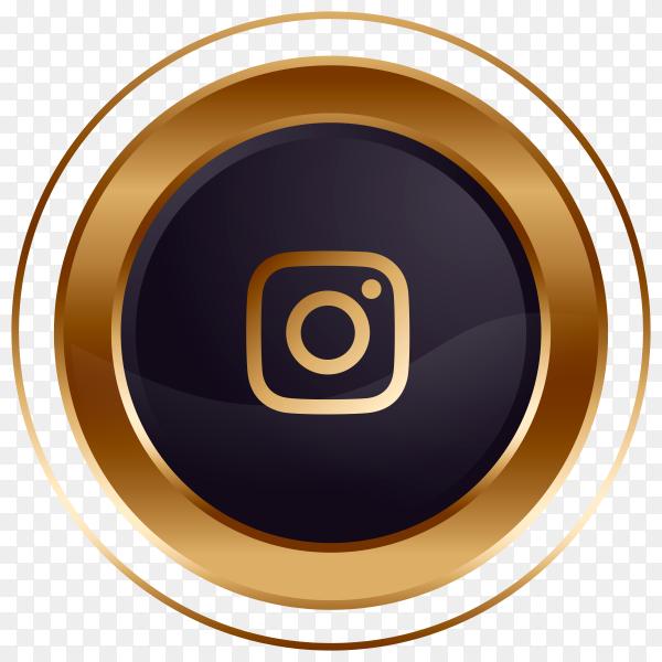 Luxury golden black Instagram logo design Clipart PNG