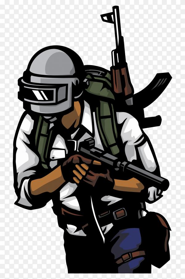 PUBG soldier illustration on transparent background PNG ...