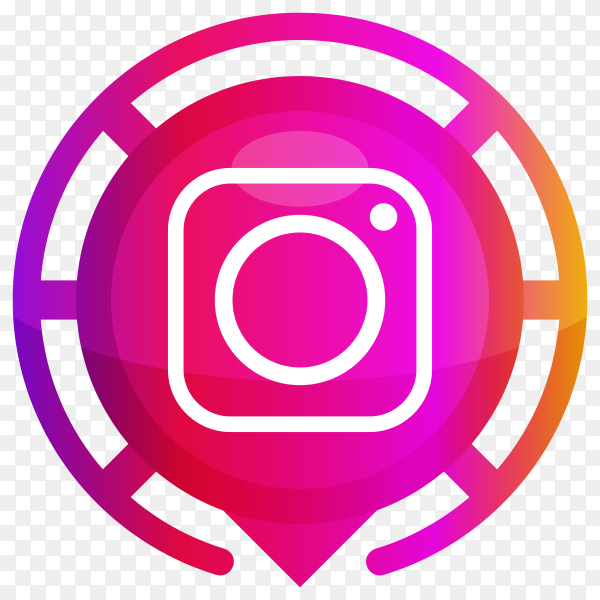 Pink Instagram logo on transparent background PNG