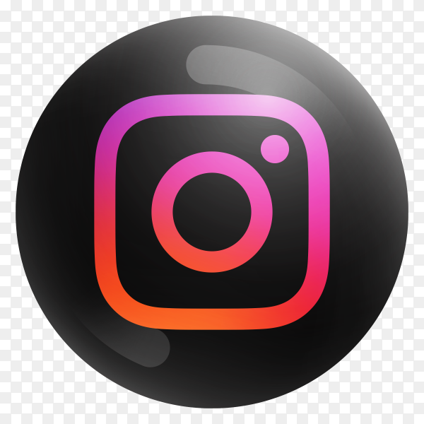 Popular Instagram icon in round black color on transparent PNG