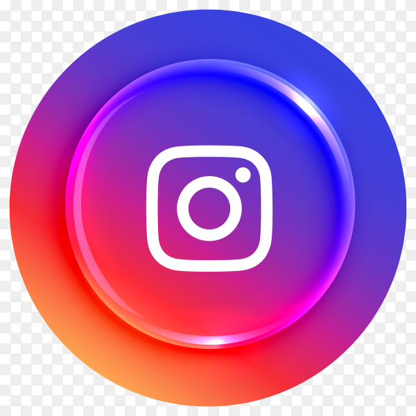 Popular Instagram logotype button on transparent PNG