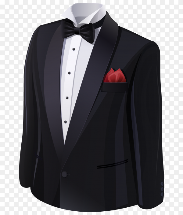 Realistic black suit object on the white with cotton shirt on transparent background PNG