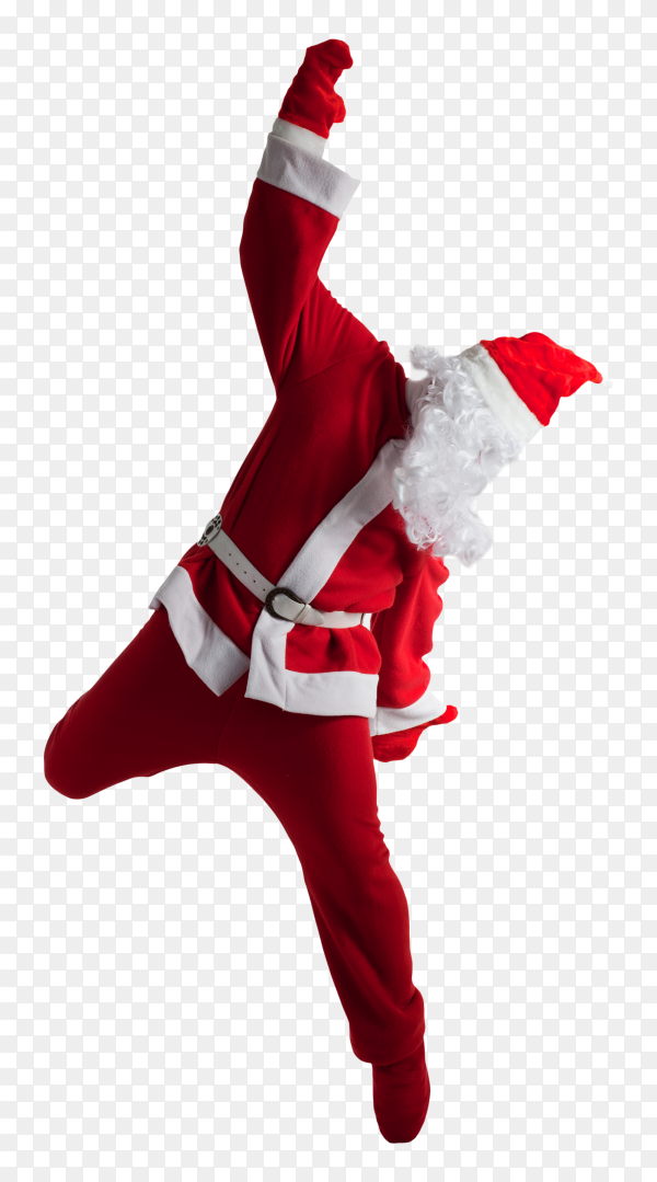 Santa claus jumped isolated on transparent background PNG