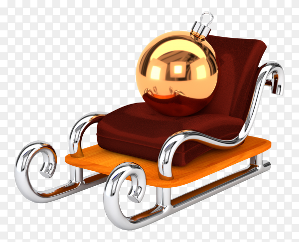 Santa claus sleigh with a Christmas ball isolated on transparent background PNG