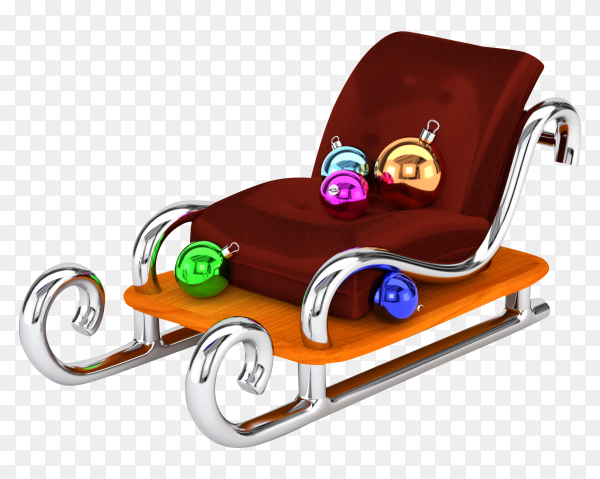 Santa claus sleigh with multi colored Christmas balls on transparent background PNG