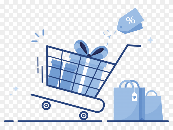 Shopping cart with gift boxes and shopping bags from online shop for e-commerce marketing on transparent PNG