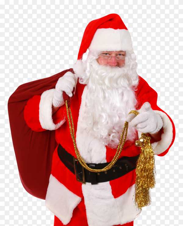 Santa claus carrying bag box on transparent background PNG