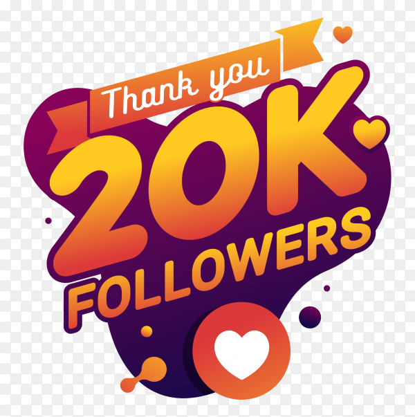 Thank you 20k followers congratulation banner on transparent background PNG