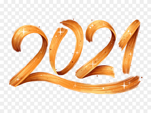 Watercolor brushstroke new year 2021 on transparent background PNG