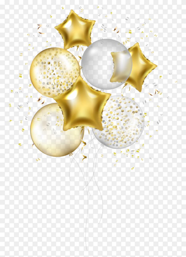 White and golden helium balloon on transparent background PNG