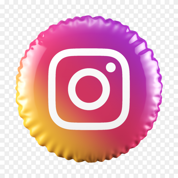 3D Balloon Instagram icon on transparent background PNG