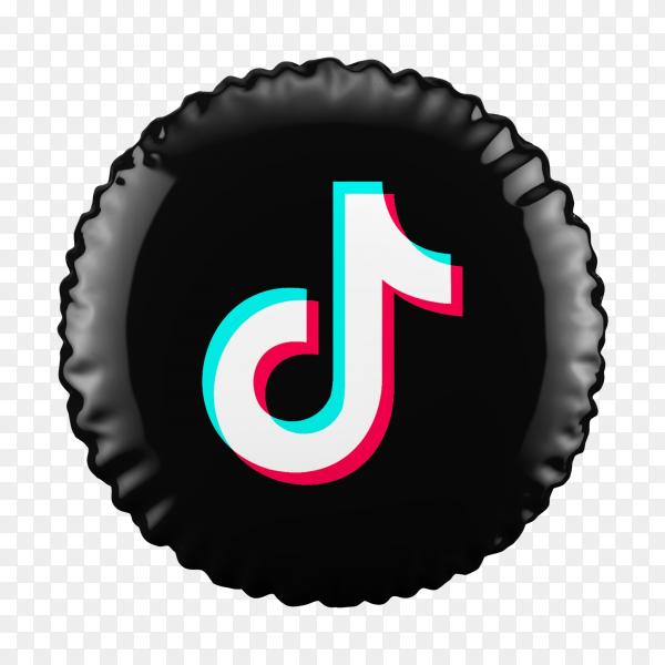 3D Black Balloon Tiktok icon on transparent background PNG