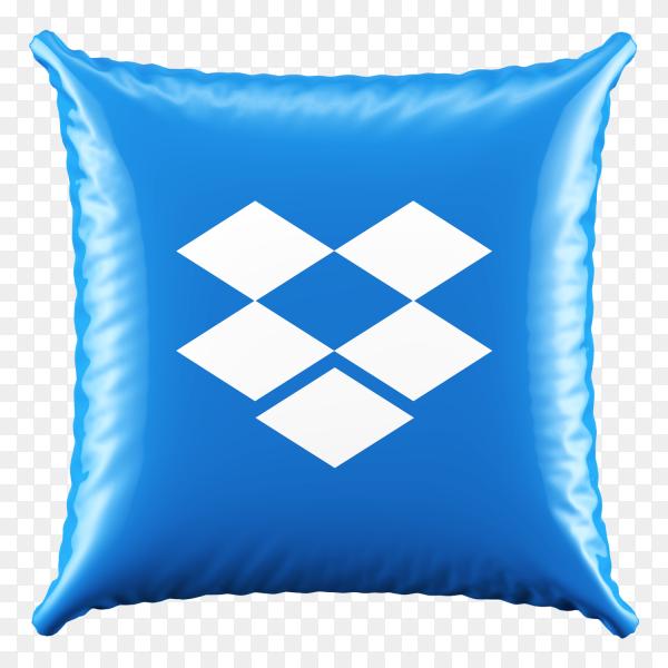 3D Blue Pillow Dropbox icon on transparent background PNG