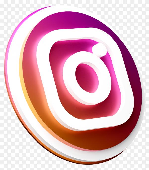 3D Instagram icon design on transparent background PNG