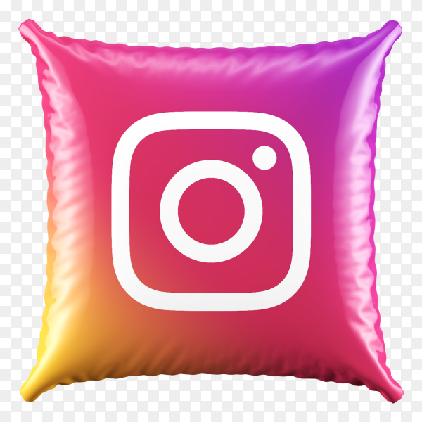 3D Pillow Instagram icon on transparent bacground PNG