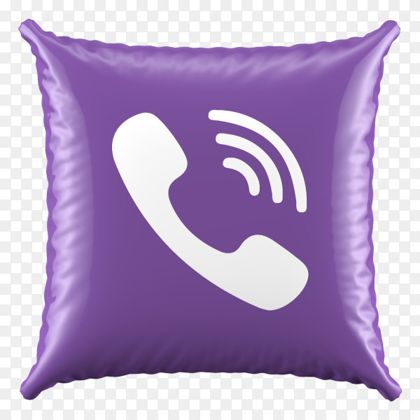 3D Purple Pillow Viber icon on transparent background PNG