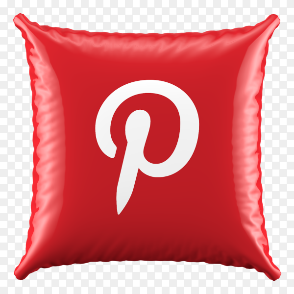 3D Red Pillow Pinterest icon on transparent background PNG