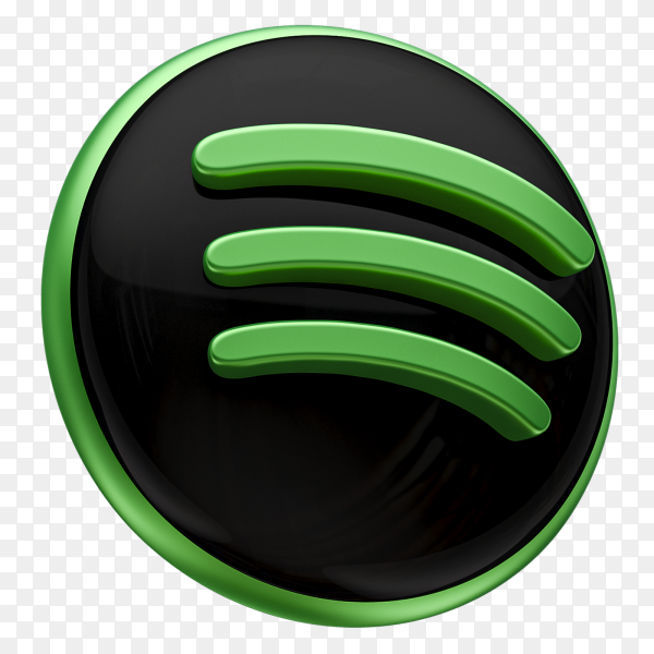 3D Spotify icon on transparent background PNG
