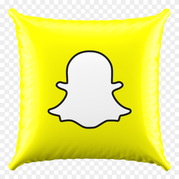 3D Yellow Pillow Snapchat icon on transparent background PNG
