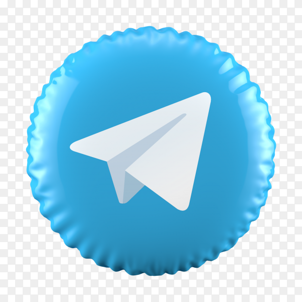 3D balloon Telegram icon on transparent background PNG