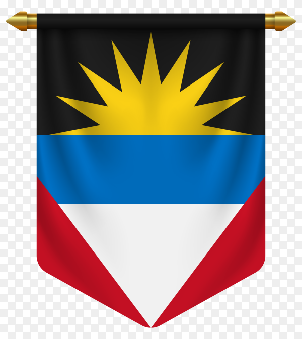 3D realistic pennant with flag of Antigua and Barbuda on transparent background PNG